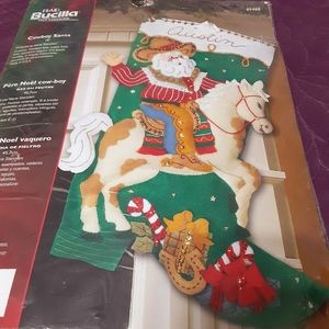 Bucilla Felt Stocking Cowboy Santa Needlework